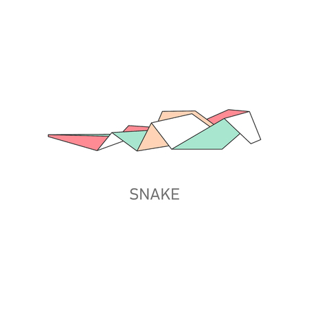 Origami folded paper animal snake flat with outline stroke design vector illustration isolated on white background. Paper art or polygonal drawing creative icon. Ilustrace
