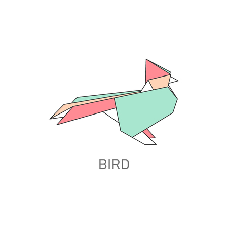 Origami folded paper bird symbol flat with outline stroke design vector illustration isolated on white background. Paper art or polygonal drawing creative icon.