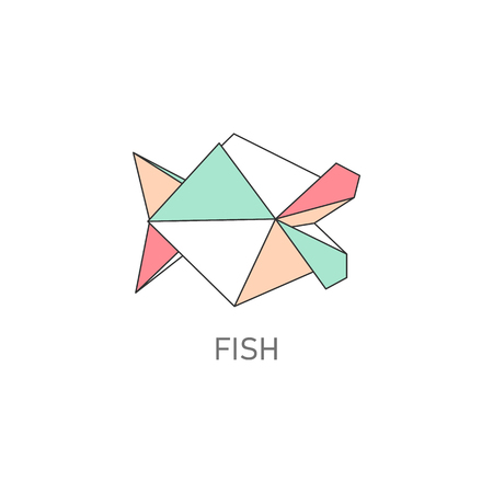 Folded paper or origami fish craft flat with outline stroke design vector illustration isolated on white background. Paper art or polygonal drawing creative icon. Иллюстрация