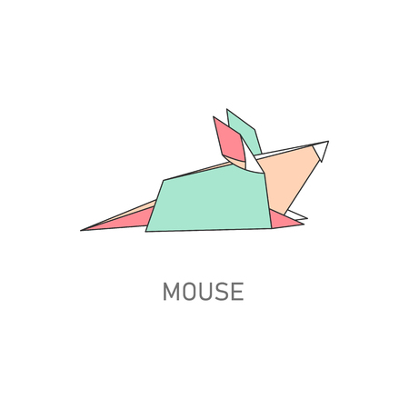 Folded paper or origami mouse or rat flat with outline stroke design vector illustration isolated on white background. Paper art or polygonal drawing creative icon. Reklamní fotografie - 124791008