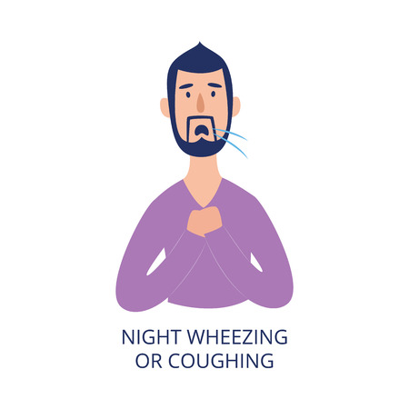 Man holding his chest coughing and wheezing at night flat cartoon style, vector illustration isolated on white background. Male person with respiratory disease symptom as asthma or allergy or cold