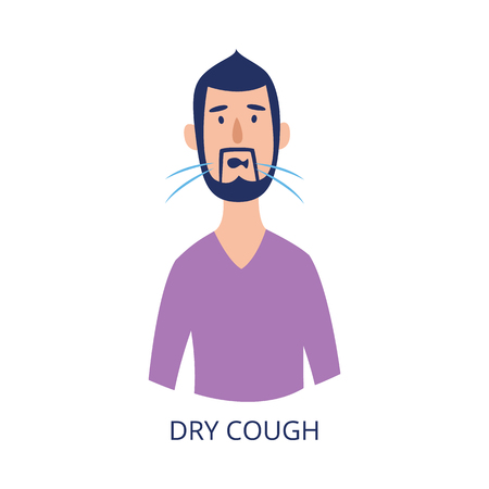 Portrait of man having dry cough flat cartoon style, vector illustration isolated on white background. Male person with respiratory disease symptom as asthma or allergy or cold Illustration