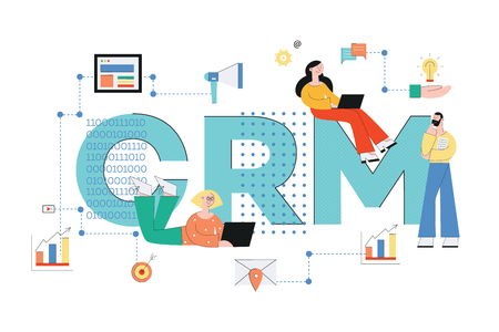 Customer relationship management system. Crm concept business vector illustration with people and icons of analysis, service and technology in flat style.