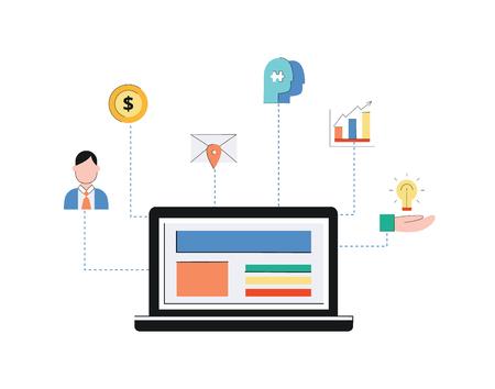 Customer-Relationship-Management-System, crm-Konzept mit Laptop und Symbol auf weißem Hintergrund. CRM-Konzept, Geschäftsunterstützung, Service und Analyse des Kunden, flache Vektorgrafik.