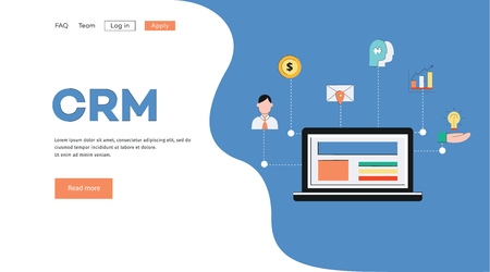 Template and background for banner with crm concept. Customer relationship management system concept with laptop and business icons for banner and landing page. Vector flat illustration.