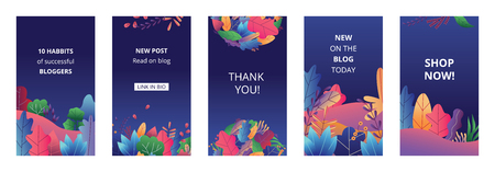Stories templates set with bright gradient leaves abstract style, vector illustration on blue background. Floral social media banners collection or backgrounds pack with text