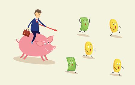 Homme d'affaires chassant de l'argent sur une tirelire rose, un billet d'un dollar de dessin animé effrayé et des personnages de pièces d'or fuyant l'homme capitaliste avide en costume, illustration vectorielle plane isolée