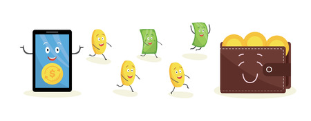 Cartoon money characters running from smartphone to wallet. Happy dollar bill and gold coin icons transfer from online business to cash, isolated flat vector illustration on white background. Vektoros illusztráció