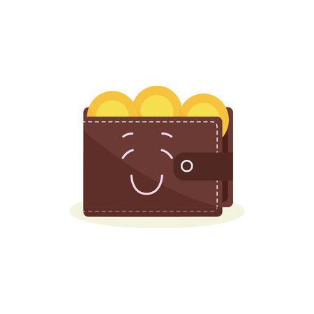 Happy brown wallet character full of yellow coins cartoon style, vector illustration isolated on white background. Smiling purse mascot with money as financial success or profit symbol Illustration