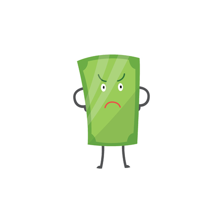 Money character, green cartoon dollar and paper banknote experiencing emotion and angry. Character of money and dollar, banknote is angry, flat vector isolated illustration. Ilustração