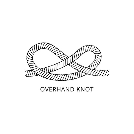 Marine rope or cord overhand knot scheme with inscription thin line black and white vector illustration isolated on white background. Decorative nautical loop design element.