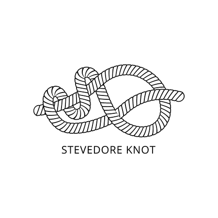 Marine rope or cord stevedore knot scheme with inscription thin line black and white vector illustration isolated on white background. Decorative nautical loop design element. Illustration