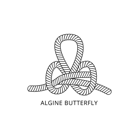 Rope or cord marine knot known as algine butterfly thin line black and white vector illustration isolated on white background. Nautical cable loop design element.