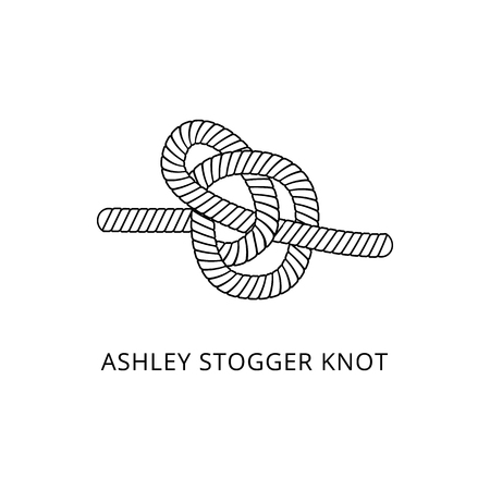 Marine rope or cord knot scheme with the name thin line black and white vector illustration isolated on white background. Decorative nautical loop design element.