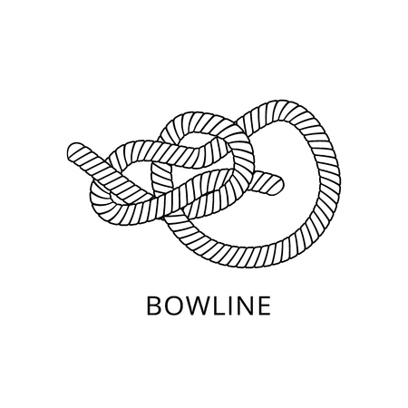 Bowline knot - marine nautical rope string tied and twisted into complex loop, nautical and hand craft skill instruction figure isolated on white background, hand drawn vector illustration Vettoriali