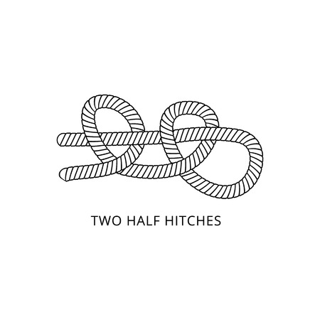 Two half hitches - nautical knot with rope tied into double bend loop, marine string hitch for boat safety, black and white isolated vector illustration on white background Çizim