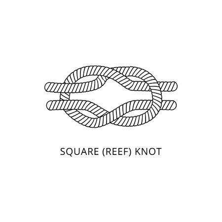 Square reef knot icon - marine nautical rope tie isolated on white background. Strong black and white double loop cord shape for sailing and fastening objects, vector illustration.
