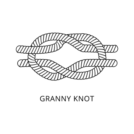 Granny knot for securing a rope, nautical string looping craft, twisted marine cord with double loop, black and white hand drawn vector illustration isolated on white background Stockfoto - 128170594
