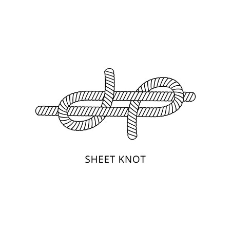 Sheet bend knot - marine rope tied in double loop line for nautical equipment fastening and security, isolated black and white instruction vector illustration on white background