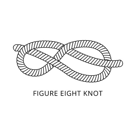 Figure eight knot - nautical rope tying skill figure in black and white, marine cord with strong double loop, isolated hand drawn and flat colorless vector illustration on white background Ilustração