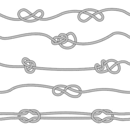 Seamless pattern of horizontal ropes set with different knots sketch style, vector illustration isolated on white background. Horizontal dividers collection of marine or climbing knotted cord strings