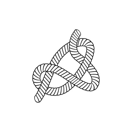 Slipknot made from twisted rope in outline sketch style, vector illustration isolated on white background. Marine or nautical or climbing knot tied from cord or cable