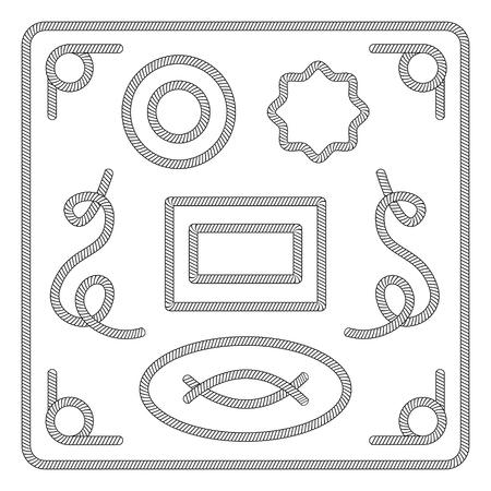 Les cadres, les bordures et les nœuds de corde marine ou nautique définissent une illustration vectorielle de croquis isolée sur fond blanc. Mer magnifiquement tordue ou éléments décoratifs. Vecteurs