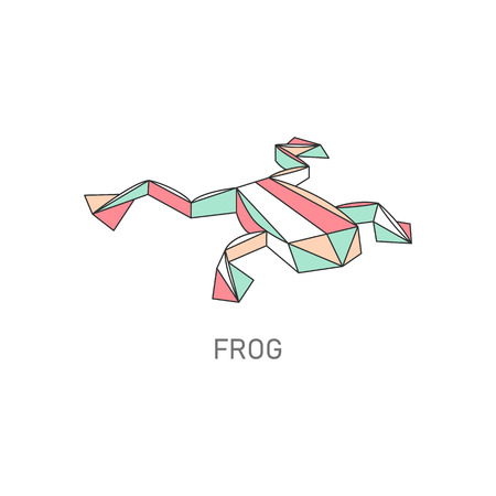 Folded paper or origami frog or toad flat with outline stroke polygonal design vector illustration isolated on white background. Hobby or craft concept creative icon.