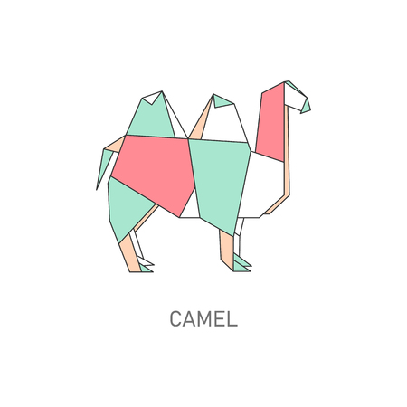 Folded paper or origami camel animal flat with outline stroke polygonal design vector illustration isolated on white background. Hobby or craft concept creative icon.