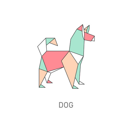 Animal origami of dog created in japanese folded paper art cartoon vector illustration with outline and polygonal segments. Modern hobby symbol or creative decoration. Ilustrace