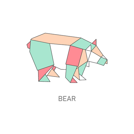 Animal origami of bear created in japanese folded paper art cartoon vector illustration with outline and polygonal segments. Modern hobby symbol or creative decoration.