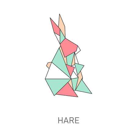 Origami of hare created in japanese folded paper art cartoon vector illustration with outline and polygonal segments. Modern hobby animal symbol or creative decoration.