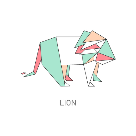 Origami of lion created in asian folded paper art cartoon vector illustration with outline and polygonal segments. Modern hobby animal symbol or creative craft. Ilustrace