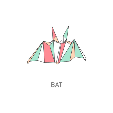 Origami craft of bat created in asian folded paper with title art cartoon vector illustration with outline and polygonal segments. Modern fashionable hobby animal icon.