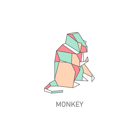 Origami monkey design isolated on white background. Geometric polygon animal shape in Japanese paper folding technique, flat vector illustration line art in muted pastel colors