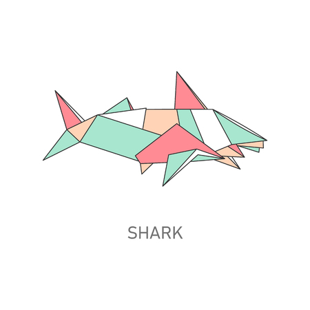 Origami shark icon isolated on white background. Cartoon sea animal in geometric polygon art shapes, dangerous fish silhouette folded from colorful paper - flat vector illustration