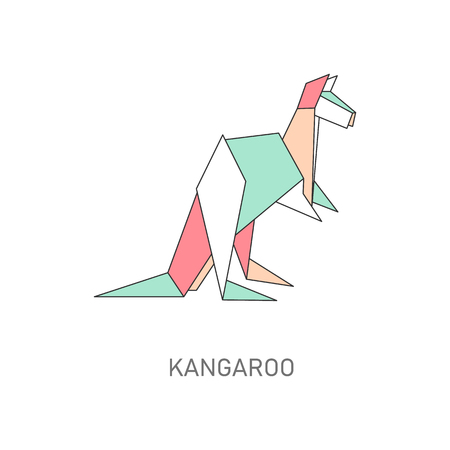 Icon of an kangaroo made of paper in flat origami style. Flat vector isolated illustration with origami animal kangaroo. Ilustração