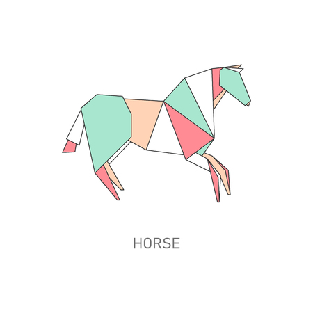 Icon of animal horse made of paper in flat origami style, vector illustration.