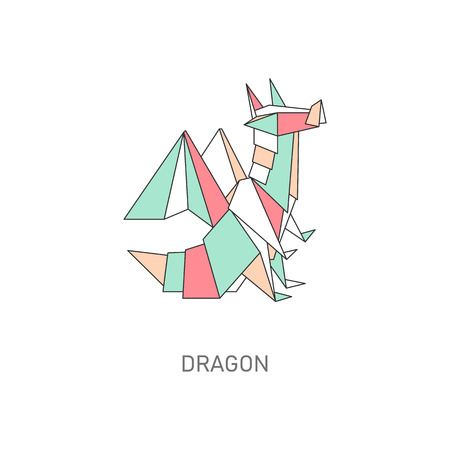 Paper origami dragon. Icon of an dragon made of paper in flat style. Flat vector isolated illustration with origami of fantastic animal. Illusztráció