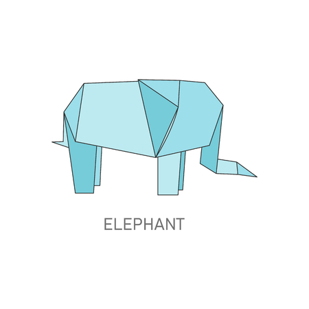 Origami elephant folded from blue paper, isolated African animal in traditional Japanese craft design style, geometric vector illustration on white background Illustration