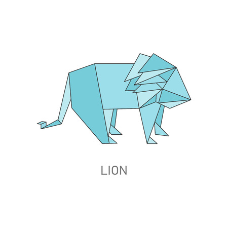 Origami lion isolated on white background, geometric jungle animal shape folded from blue paper, traditional Japanese folding art, flat vector illustration