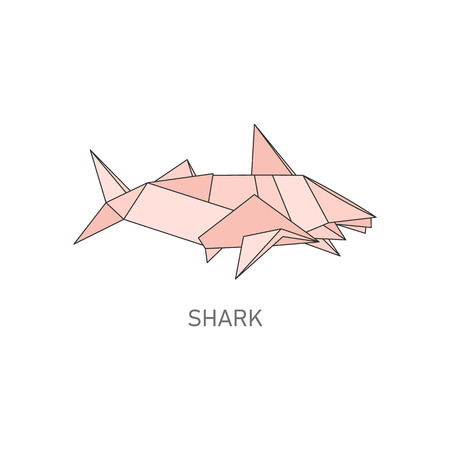 Shark origami figure in geometric flat outline style, vector illustration isolated on white background. Polygonal design of shark fish animal, icon in style of japanese art of folding paper