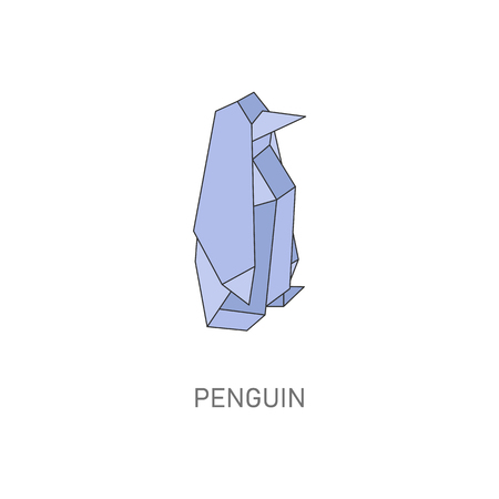 Penguin origami shape - small Antarctic animal made from folded paper, geometric bird made in traditional Japanese hand made art style, isolated flat vector illustration on white background