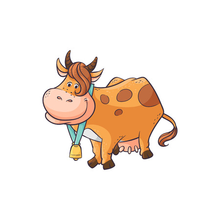 Cute cartoon cow standing and smiling, happy brown farm animal with bell and feminine haircut hand drawn and isolated on white background ready to give milk. Flat vector illustration.