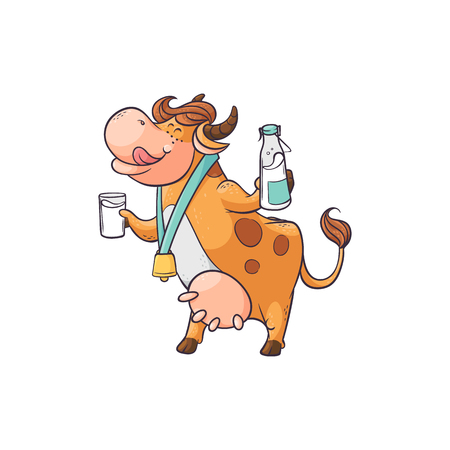 Funny cow drinking milk from glass and bottle, cute cartoon character standing with funny face from delicious drink, flat hand drawn farm animal vector illustration isolated on white background