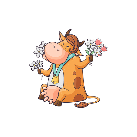 Funny cartoon cow eating flowers, cute female farm animal with bell around neck and feminine hairstyle sitting eating delicious food and smiling - isolated flat vector illustration on white background