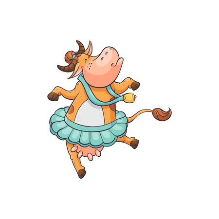 Cute and funny cartoon farm cow with a bell dancing ballet in a tutu, animal character. Flat comic cartoon isolated vector illustration. Standard-Bild - 128170614