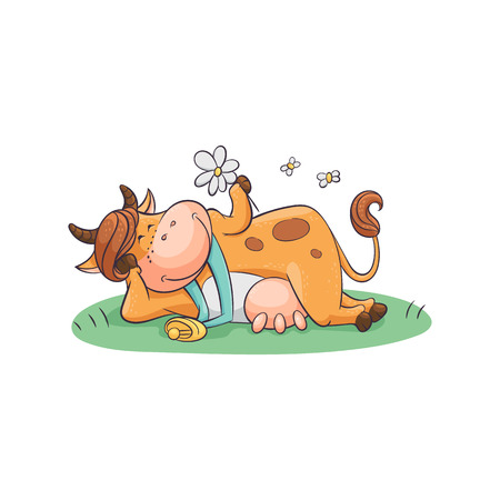 Cute and funny cartoon farm cow with a bell and udder resting and lying on a meadow with a camomile in hand, animal character, flat vector illustration.