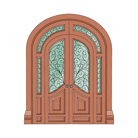 Ornate double door with patterned stained glass, old European architecture entrance with decorative ornament and old arch facade, isolated hand drawn flat vector illustration on white background