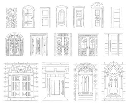 Een set getekende vintage en moderne deuren van huizen en gebouwen met een zwarte omtrek, slag en contour. Set van verschillende retro en moderne deuren. Geïsoleerde vectorillustratie op witte achtergrond. Vector Illustratie